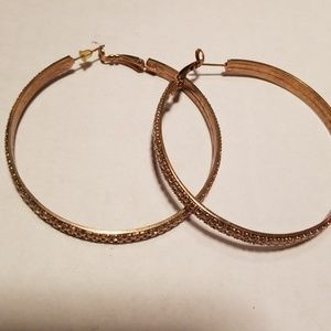Rhinestone and Gold Hoop Earrings